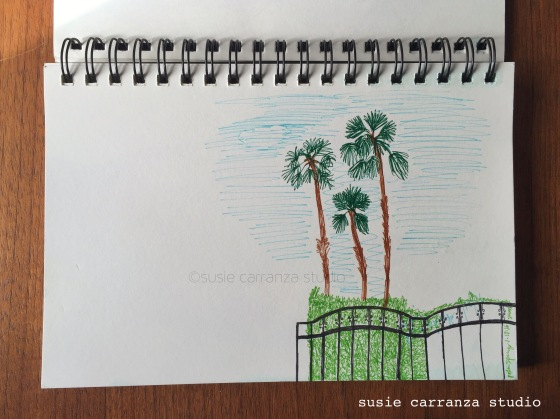 Drawing palm trees while poolside at Palm Springs - susie carranza studio