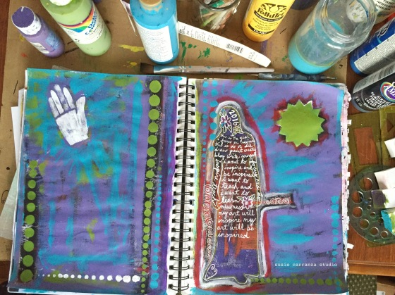 turquoise, purple, and green lightened up the background...