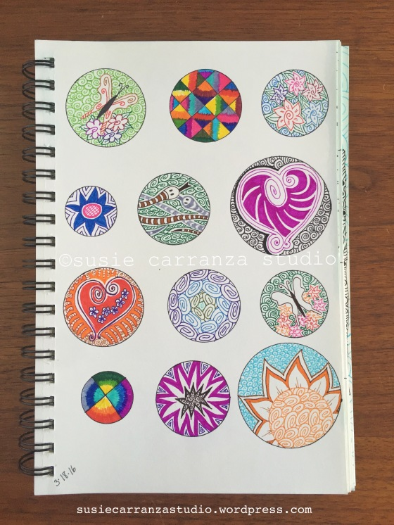 Enjoy doing these little round drawings - susie carranza studio