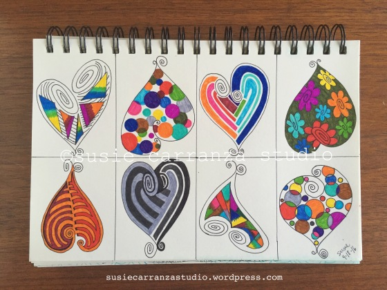 Small heart drawings - susie carranza studio