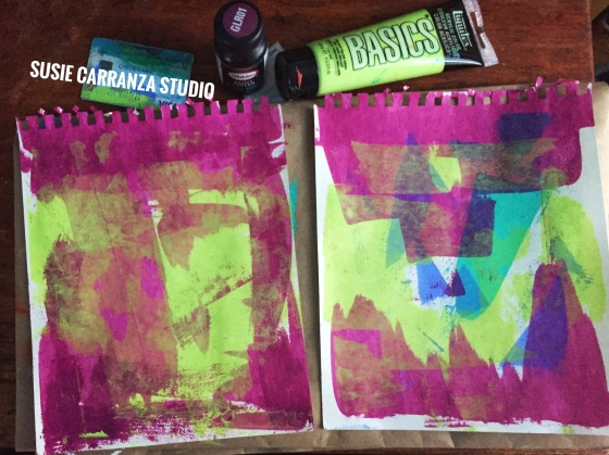 preparing art journal background - susie carranza studio