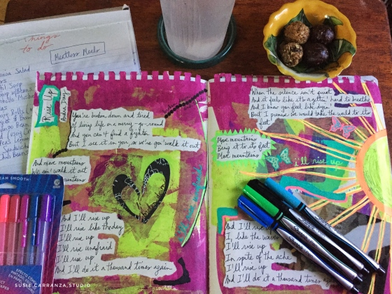 art journal spread: Andra Day's Rise Up - susie carranza studio