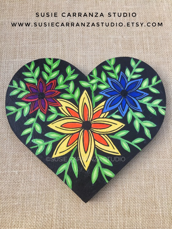 Black Flowery Heart - original art by Susie Carranza Studio
