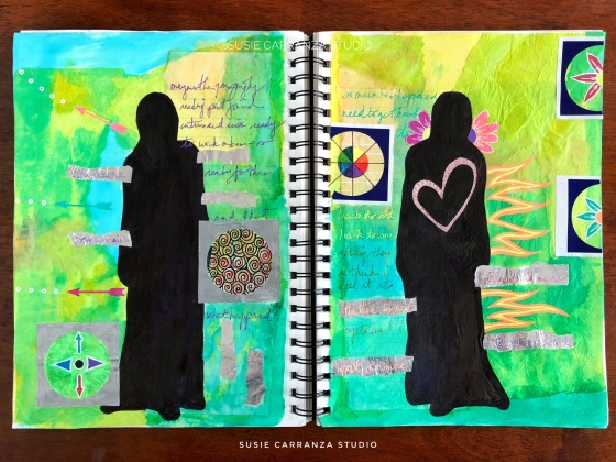 """double vision"" art journal page - susie carranza studio"