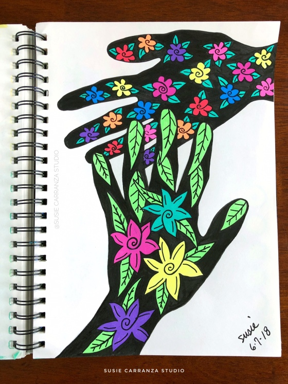 """flowery hands"" art journal page - susie carranza studio"