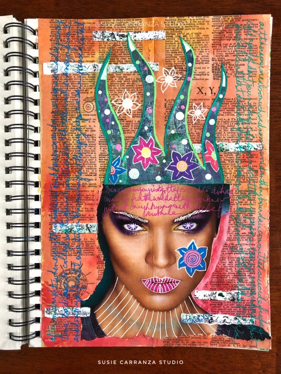 """distraction"" art journal page - susie carranza studio"