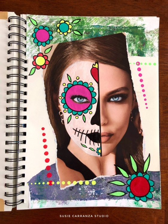 """sugar skull face"" art journal page - susie carranza studio"